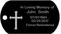 Cross Memorial Engraved Dog Tag T660